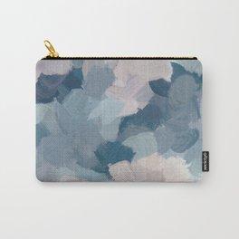 Mint Aqua Navy Indigo Blue Blush Pink Abstract Painting, Modern Wall Art Paint Strokes Random Carry-All Pouch