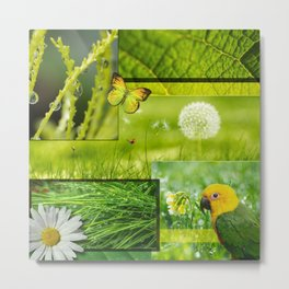 Lush Nature & Greenery Collage Metal Print