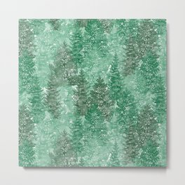 Green Summer Conifer Forest Watercolor Pattern Metal Print