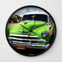 cuba Wall Clocks featuring Cuba green by frenchtoy