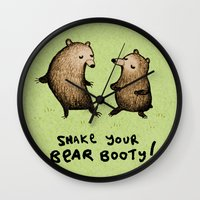 booty Wall Clocks featuring Bear Booty Dance by Sophie Corrigan