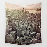 manhattan Wall Tapestries featuring moody Manhattan by inourgardentoo