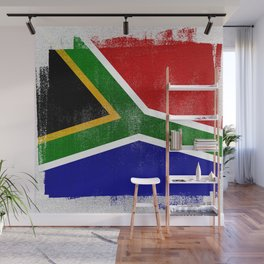 South African Distressed Halftone Denim Flag Wall Mural