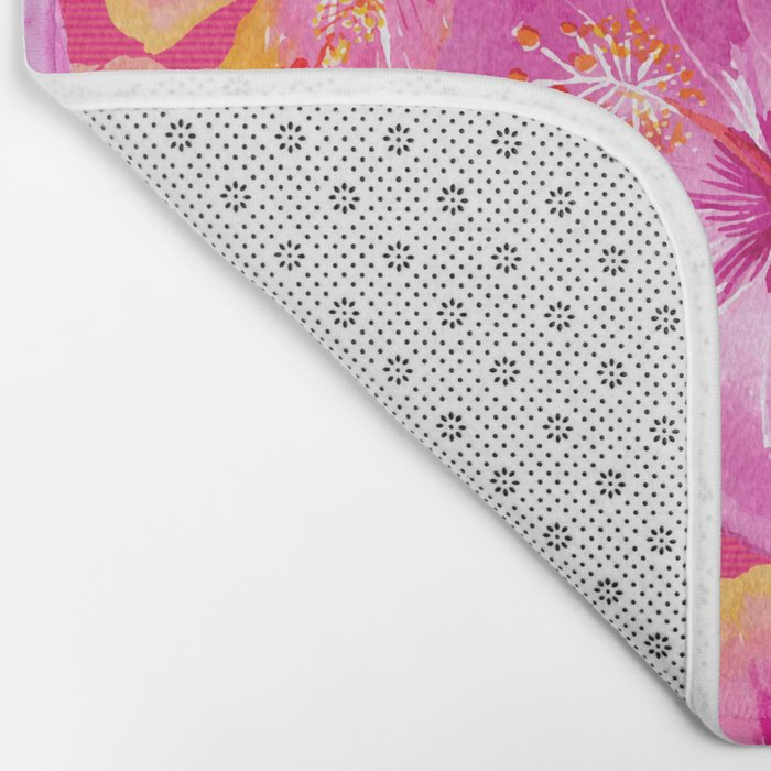 Tropical hibiscus flowers flower floral pattern on pink Bath Mat