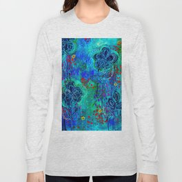 In Too Deep - Blue Abstract Flowers Long Sleeve T-shirt