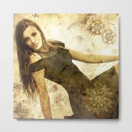 bella ragazza su fondo steampunk vintage Metal Print