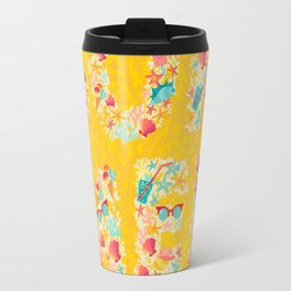 Summer text with summer object pattern. Multicolor vector illustrations isolated on white background Travel Mug