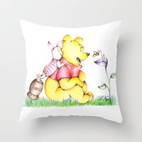 winnie the pooh Throw Pillows featuring Winnie the Pooh & Piglet by laura nye.