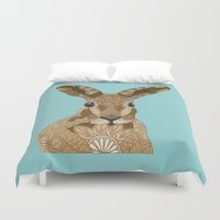 hare Duvet Covers featuring Happy Hare by ArtLovePassion