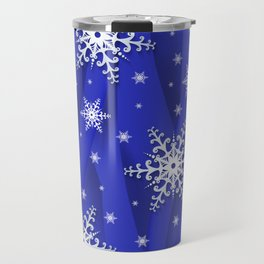 Abstract background with snowflakes Travel Mug