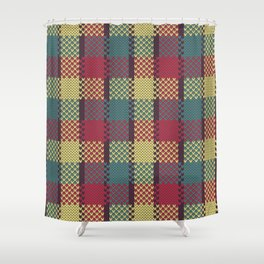 Faux Retro Gingham Shower Curtain