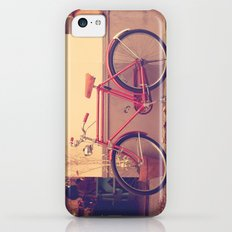 Vintage and Retro Pink Bicycle on the Street Slim Case iPhone 5c
