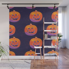 pumpkin with halloween Wall Mural