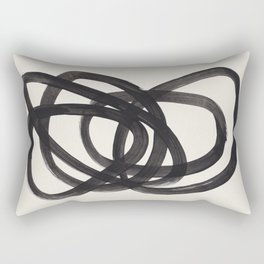 Mid Century Modern Minimalist Abstract Art Brush Strokes Black & White Ink Art Spiral Circles Rectangular Pillow