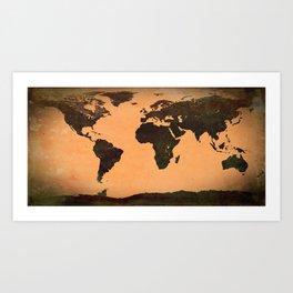 World Map Grunge Art Print