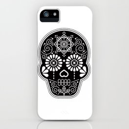 Día de Muertos Calavera • Mexican Sugar Skull – Black Palette iPhone Case