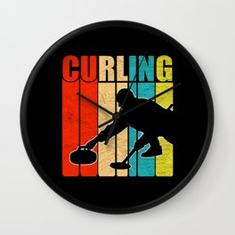 Retro Curling Distressed Wall Clock