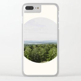 Mid Century Modern Round Circle Photo Graphic Design Pine Forest With Rolling Hills Clear iPhone Case