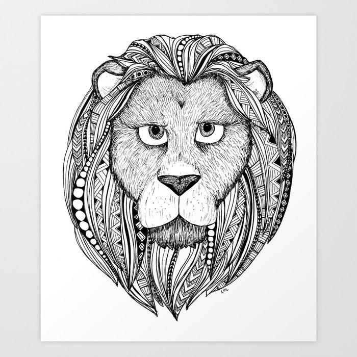 Lion - black and white Art Print