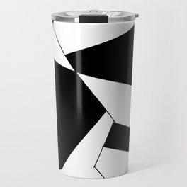 crazy clock-psychedelic,broken window,relativy,fun,black,white,red,crack,irregular,original,geometry Travel Mug