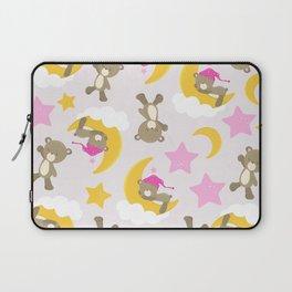 Pattern Of Cute Bears, Brown Bears, Pink Stars Laptop Sleeve