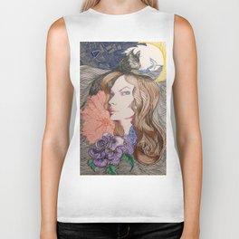 woman cat and moon Biker Tank