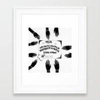 ouija Framed Art Prints featuring Ouija by Sabrina Brubaker