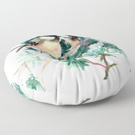 Chickadees in the Woods Floor Pillow