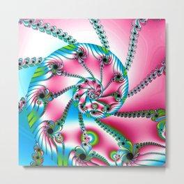 Pink Blue and Green Fractal Metal Print