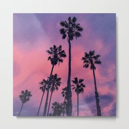 Palm trees and Sunset Metal Print