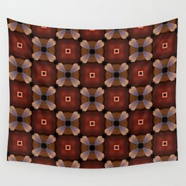 Red Square and White Circle Pattern Wall Tapestry