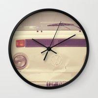 volkswagon Wall Clocks featuring WV Combi Bus Volkswagon Vintage Car (Retro Cream an Violet Van)  by Caroline Mint