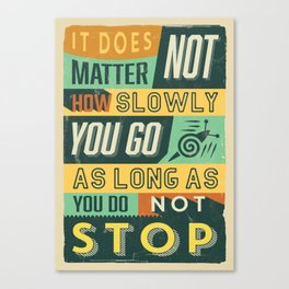 Retro Vintage Motivational Quote Poster with Typographic Elements Canvas Print