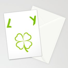 St. Patrick's Four-Cleaf Clover Tee Saying Lucky Fuck You T-shirt Design Irish Celebrate Party Stationery Cards