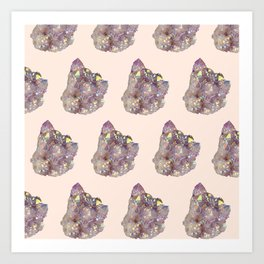 iridescent rainbow quartz crystal on blush Art Print