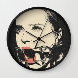 Talking heads, there is always way to change that, BDSM erotic artwork, gagged beauty portrait Wall Clock