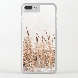 Typha reeds at frozen lake Clear iPhone Case