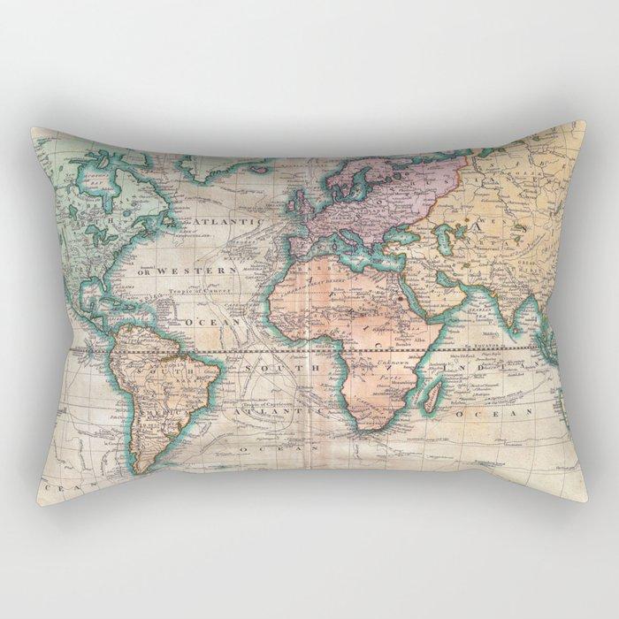 Vintage World Map 1801 Rectangular Pillow