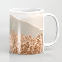 Golden Wheat Mountain // Yellow Heads of Grain Blurry Scenic Peak Coffee Mug
