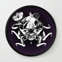 The Skull the Flowers and the Snail Wall Clock