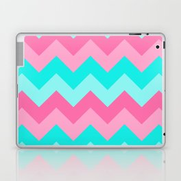 Hot Pink Turquoise Aqua Blue Chevron Zigzag Pattern Print Laptop & iPad Skin