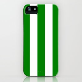 Green (HTML/CSS color) - solid color - white vertical lines pattern iPhone Case