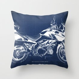 20-2012 Suzuki V-Strom 1000 SE, blueprint motorcycle, man cave decoration Throw Pillow