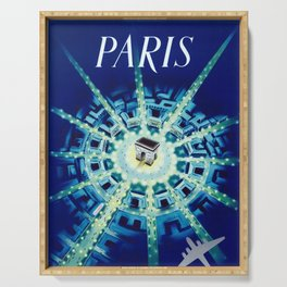 Paris  -  Vintage Travel Poster Serving Tray