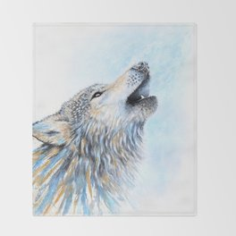 """""""Howling"""" Watercolor Wolf Throw Blanket"""