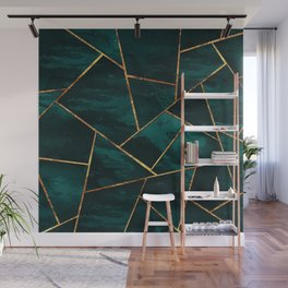 Dark Teal Ink Copper Gold Geometric Glam #1 #geo #decor #art #society6 Wall Mural