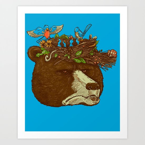 Mr Bear's Nature Hat Art Print