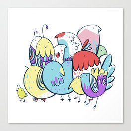 Techno-Color Birds Canvas Print