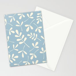 Cream on Blue Assorted Leaf Silhouettes Stationery Cards