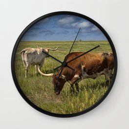 Longhorns on the Prairie Wall Clock